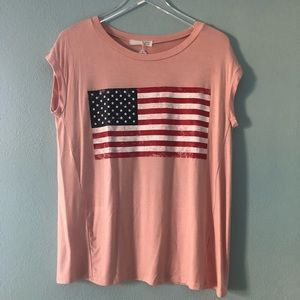 Boutique | American Flag pink tee